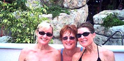 Pam, Lynn and Ann  make the pool even more inviting.